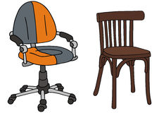 Chairs. Drawing of recent and classic office chairs Stock Photography