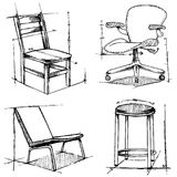 Chairs drawings Royalty Free Stock Photos