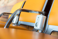 Chairs with electric outlet in airport. Royalty Free Stock Images