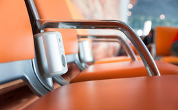 Chairs with electric outlet in airport. Royalty Free Stock Photography