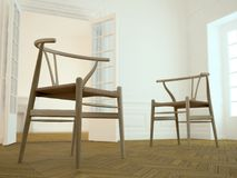 Chairs and elegant interior (yellow) Royalty Free Stock Photography
