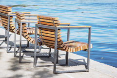 Chairs on the embankment. Royalty Free Stock Photography