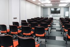 Chairs in an empty conference room royalty free stock image