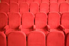 Chairs in the empty small cinema auditorium Stock Photos