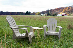 Chairs in Field Stock Photography