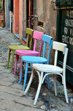 chairs finalborgoen italy Royaltyfri Fotografi