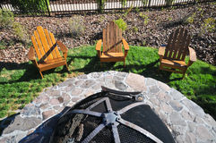 Chairs by a fire pit from above Royalty Free Stock Image