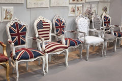 Chairs with flags on display at HOMI, home international show in Milan, Italy Stock Photography
