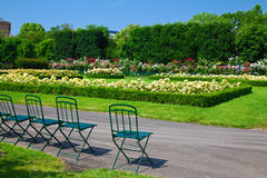 Chairs and flowers in Volksgarten Stock Photos