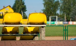 Chairs and football. Goal, the city stadium Royalty Free Stock Image