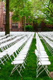 Chairs form a beautiful pattern on the grass land at Yale University Stock Photography