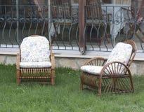 Chairs in garden Stock Photo