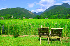 chairs   Grassland and   mountain  Thailand Stock Photos