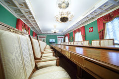 Chairs in Green Hall of guest annexe. MOSCOW - APRIL 24: Chairs in Green Hall of guest annexe in Grand Kremlin Palace on April 24, 2012 in Moscow, Russia. Five Royalty Free Stock Images