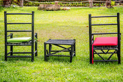 Chairs on a green lawn Stock Photo