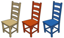 Chairs. Hand drawing of three classic wooden chairs Stock Photo