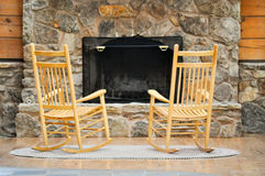 Chairs by the Hearth. Of a log cabin royalty free stock images