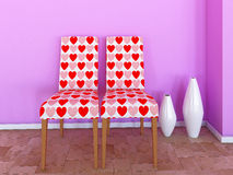 Chairs with hearts Royalty Free Stock Photos