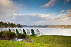 Chairs and Hood Canal Stock Photography