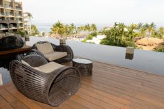 Chairs on a hotel balcony Royalty Free Stock Photo