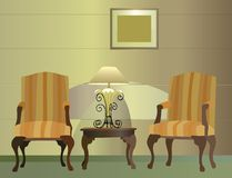 Chairs. hotel. lamp vector royalty free stock images