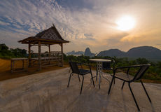 chairs and hut on top of mountain on travel destination view poi Royalty Free Stock Image