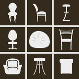 Chairs Icons. Set of Icons on a theme chairs Stock Photos