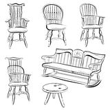Chairs illustration. A set of assorted chair in freehand brushstroke style. This  is isolated on white background Royalty Free Stock Photos
