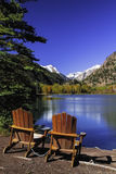 Chairs by Lake Royalty Free Stock Images