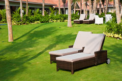 Chairs on a Lawn at a Tropical Resort Stock Photos