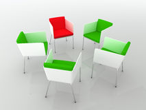 Chairs meeting. 3d rendering. Chairs scene 3d high resolution rendering. Concept of individuality, leadership, diversity, meeting Royalty Free Stock Photo