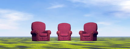 Chairs for meeting on a green meadow Royalty Free Stock Photos