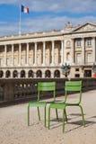 chairs metalliskt parisian Royaltyfria Bilder