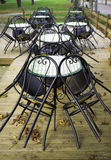Chairs otside a pub, fall view. Color image Royalty Free Stock Photos