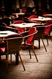 Chairs in outdoor restaurant Royalty Free Stock Images