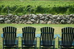 Chairs overlooking scenic area Royalty Free Stock Photos