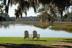 Chairs overlooking wetlands. In the deep south Stock Image
