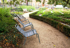 Chairs in a Park in Amsterdam. Empty chairs in a Park in Amsterdam Royalty Free Stock Photography