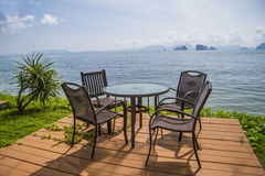 Chairs on perfect tropical white sand beach Stock Images
