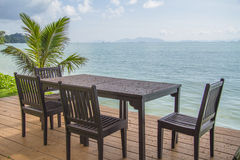 Chairs on perfect tropical white sand beach Royalty Free Stock Photos