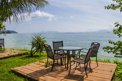 Chairs on perfect tropical white sand beach Royalty Free Stock Photography