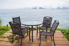 Chairs on perfect tropical white sand beach Royalty Free Stock Image