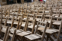 Chairs 13. Photo of several wood chairs with sunlight Royalty Free Stock Photography