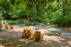 Chairs and Picnic Tables in a Shady Park Royalty Free Stock Images
