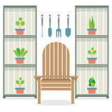 Chairs With Pot Plants In Cabinet Gardening Concept Stock Photos