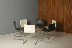Chairs prepared for group therapy session in office. Meeting room interior royalty free stock photos