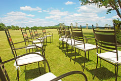 Chairs prepared for a wedding ceremony Royalty Free Stock Image