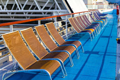 Chairs on promenade deck Royalty Free Stock Photography