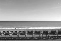 Chairs in Promenade des Angles, Nice, Royalty Free Stock Photography