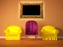Chairs with a purple chair and picture frame Royalty Free Stock Images